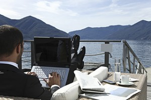 Businessman in relax and work